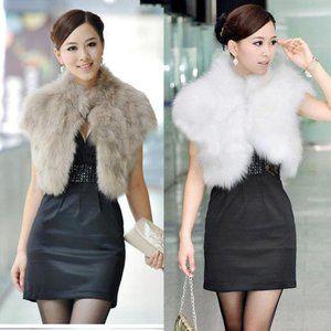 Bongo faux white fur crop jacket short sleeve